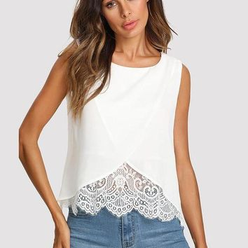 Lace Trim Overlay Tank Top