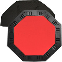 8-Player Octagon Poker Table with Red Felt Playing Surface and Cup Holders