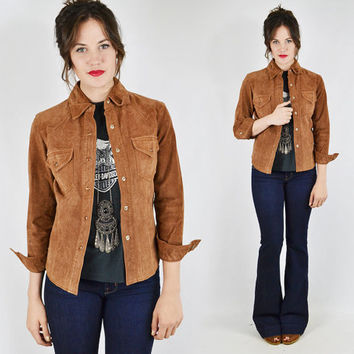 vtg 90s 70s boho hippie brown SUEDE leather WESTERN PEARL snap up skinny fit shirt jacket top xs s