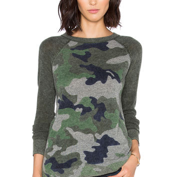 Autumn Cashmere Inked Camo Sweater in Traditional Camo