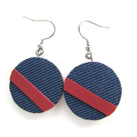 Colorful fabric collage on wood round earrings 30mm  dark blue with red leather stripe Trendy gift idea Statement piece Fiber Art Fashion