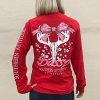 Southern Attitude Preppy Sassy Deer Skull Bow Red Long Sleeve T-Shirt
