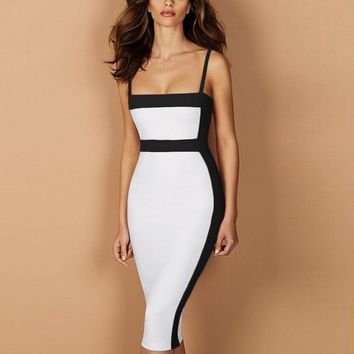 Black & White Spaghetti Strap Bandage Dress