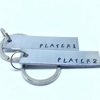 Player 1 Player 2 Keychain Set - Matching Gamer Jewelry - Best Friends BFF Matching Keychain,