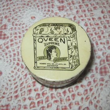 Vintage Tin Queen Supreme Hair Dressing Pomade 1930s
