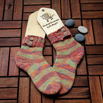 Handknit striped thick socks size EU 38-40, US women 7-8.5, handknit socks, holiday gift for him or her, wool socks, boot socks