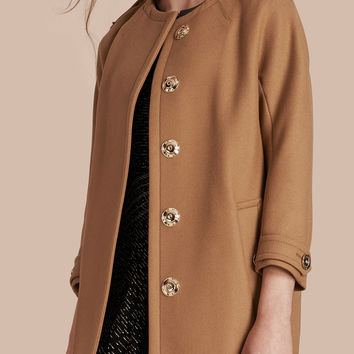 Technical Wool Cashmere Blend Collarless Coat Camel | Burberry