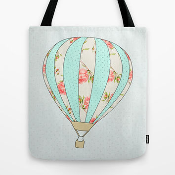 Let's fly away together - Hot air balloon Tote Bag by Allyson Johnson
