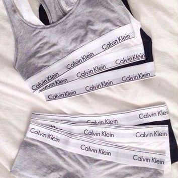 CREYCY2 2 Pc Set Calvin Klein Tank Top Shorts Underwear Lingerie Set Bikini Swimwear Bra