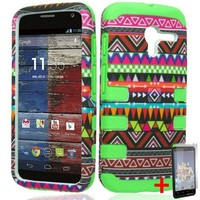 MOTOROLA MOTO X PHONE GREEN TRIBAL PATTERN RIBCAGE HYBRID COVER HARD GEL CASE + FREE SCREEN PROTECTOR from [ACCESSORY ARENA]