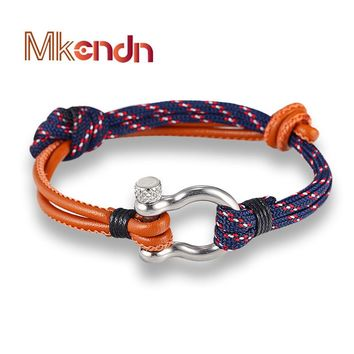 New Arrival Fashion Jewelry navy style Sport Camping Parachute cord Survival Bracelet Men with Stainless Steel Shackle Buckle