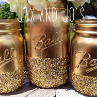 READY to SHIP SALE 3 Shining gold glitter mason jars vase centerpiece wedding decor front page best seller ball kerr rustic Glitter