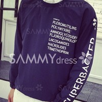 Elastic Cuffs Funny Letters Print Loose Fit Round Neck Long Sleeves Pullover Sweatshirt For Men
