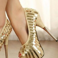 Ladies HighHeel Fashion Glitter Sequin Evening Shoes