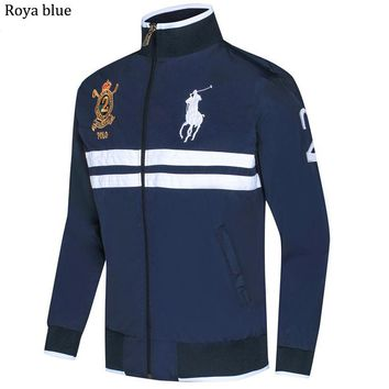 POLO RALPH LAUREN 2018 autumn and winter new men's casual sports cardigan jacket Royal blue