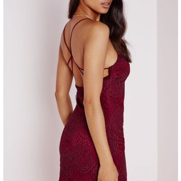 Missguided - Lace Strap Detail Mini Dress Burgundy