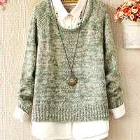 A 082904 Retro suit round neck pullover sweater