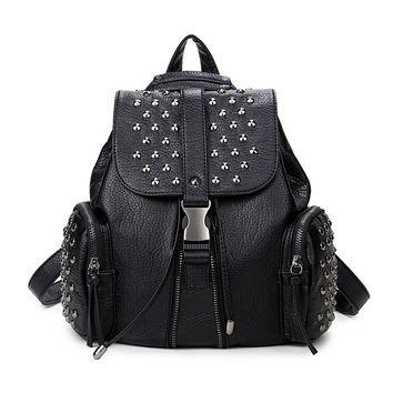 Casual Backpack PU Leather Stylish Korean Ladies England Style Travel Bags [6542321219]