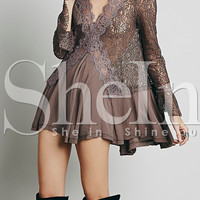 Brown Long Sleeve With Lace Dress -SheIn(Sheinside)