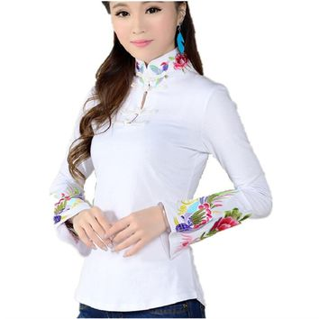 Chinese Style Shirt Female 2017 Spring Black  White Ethnic Blouse Stand Collar Embroidered Women Shirts long-sleeve Tops ST308
