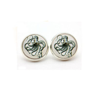 Octopus Nautical Post Glass Stud Silver Earrings - OCTOPUS
