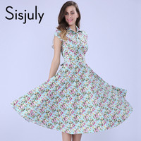 Sisjuly Vintage Dress Women Summer Mini Print  Blue Floral Spring Style Party Dress Flower Retro Pin Up Rockabilly Dresses 1950s