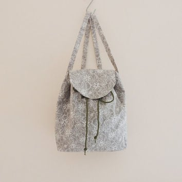 cotton backpack, lace print, spring summer backpack, women backpack