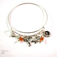 Pug Lovers Bangle Bracelet with Charms and Swarovski Crystals