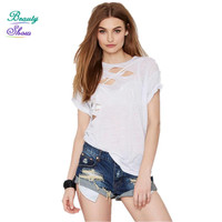 Hip Hop T Shirt Women Clothing Summer Style Fashion New O Neck Short Sleeve Hollow Out Hole T-Shirt Women Tops Plus Size