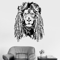 Vinyl Wall Decal Lion Head with Dreadlocks Tribal Art Stickers Unique Gift (ig3730)