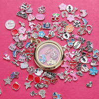 """Floating Charms Locket Necklace Pendant Round Locket with Bail,Outside Diameter 1.1"""""""