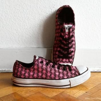 Skull print bright pink & black Converse, vintage low top All Stars with black laces.