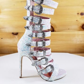 Nelly Bernal  Wavy Multi Strap High Heels Shoes Boots White Multi Ice Glitter