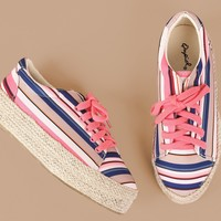 Qupid Printed Lace Up Espadrille Flatform Sneakers