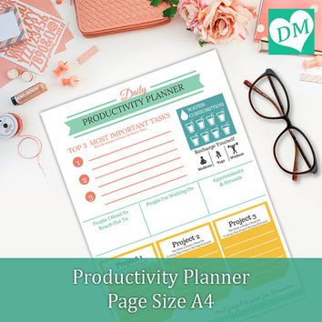 Daily Planner Template Instant Downloadable PDF Planner, Daily Productivity Planner Printable A4 Printable Office Templates Work From Home