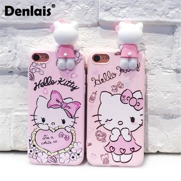 Cute Cartoon 3D Hello Kitty Cat Case For iPhone 8 7 7Plus 6 6S Plus 5 5S Cover Lanyard Strap Soft Silicon Protective Phone Case