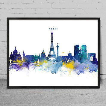 Paris Skyline, Paris France Cityscape Art Print, Watercolor Painting, Wall Art, Cityscape, City Wall art, Artwork, Art -x145