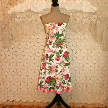 Vintage 90s Strapless Floral Dress Cotton Summer Dress Garden Party Dress Fit & Flare Dress Pink Green 1990s Small Medium Womens Clothing