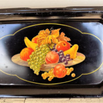 Black Enamel Metal Trays, Fruit Bowl Lithograph, Mid Century, Lot of 3 Serving Tray, Vintage Cafe' Decor