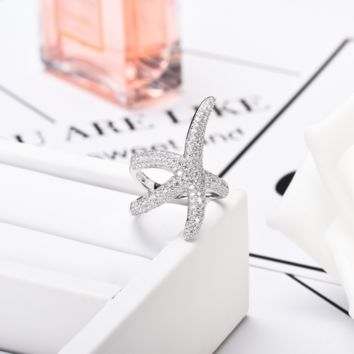 Starfish Ring in 925 Sterling Silver and CZs