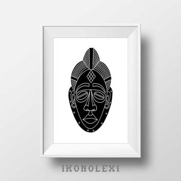 Black African mask art, wall prints, African art, mask print, ethnic art, poster art, Africa wall art, modern wall art, boho decor