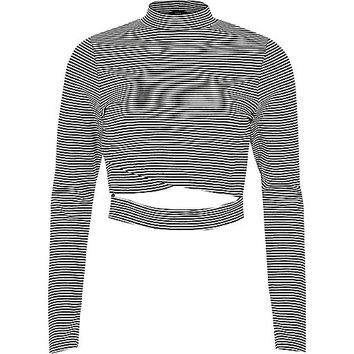 Black stripe wrap front long sleeve top - Crop Tops / Bralettes - Tops - women