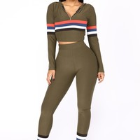 Soni Stripe Lounge Set - Olive Multi
