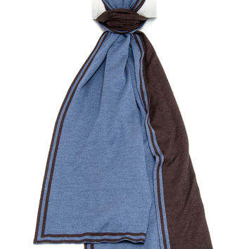 Belvest Chocolate and Blue Double Faced Scarf
