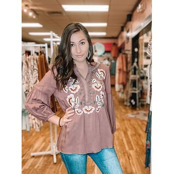 Embroidered Bubble Sleeve Top
