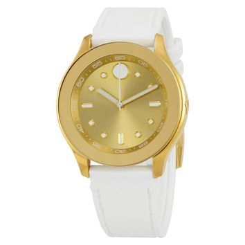 Movado Bold Gold-Tone Dial Silicone Ladies Watch 3600410