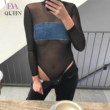 EvaQueen Sexy Mesh Lace Patchwork Denim Appliques Black Bodysuit Women Long Sleeve Fashion Skinny Bodycon Club Ropmer Jumpsuits