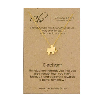 Elephant Necklace- Gold Elephant Necklace Symbolic Gift Ideas Inspirational Message Jewelry Meaningful Animal Christmas Gift Stay Strong