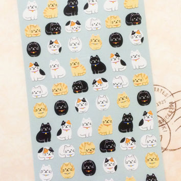 Mini Japanese Cat Stickers for Schedule, Planner, Calendar and Crafts