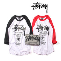 """Stussy"" Fashion Casual Male Female World Parade Letter Print Round Neck Multicolor Long Sleeve Couple Harajuku Style Baseball Cotton T-shirt"